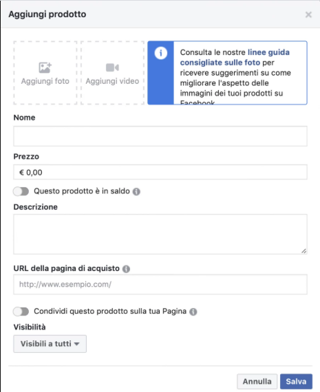 Aggiunta prodotti Vetrina Facebook